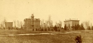 Earliest buildings on campus - College Hall, Williams Hall and Saint's Rest. Image courtesy of MSU Archives & Historical Collections