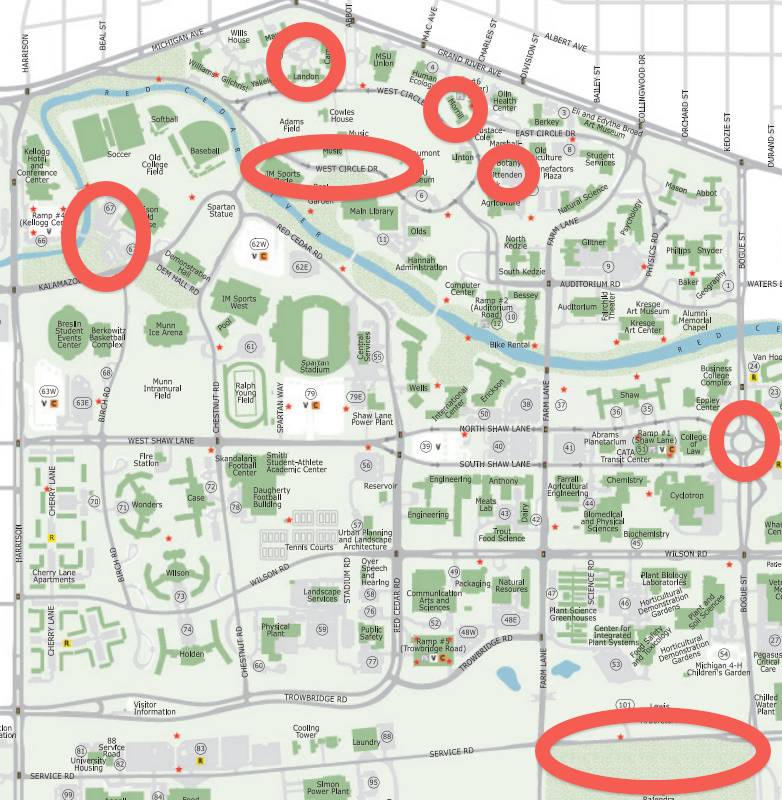 Gallery For Gt Michigan State Campus Map