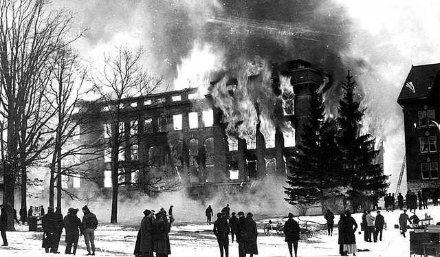 Engineering Building on fire in 1916, via MSU Archives and Historical Records