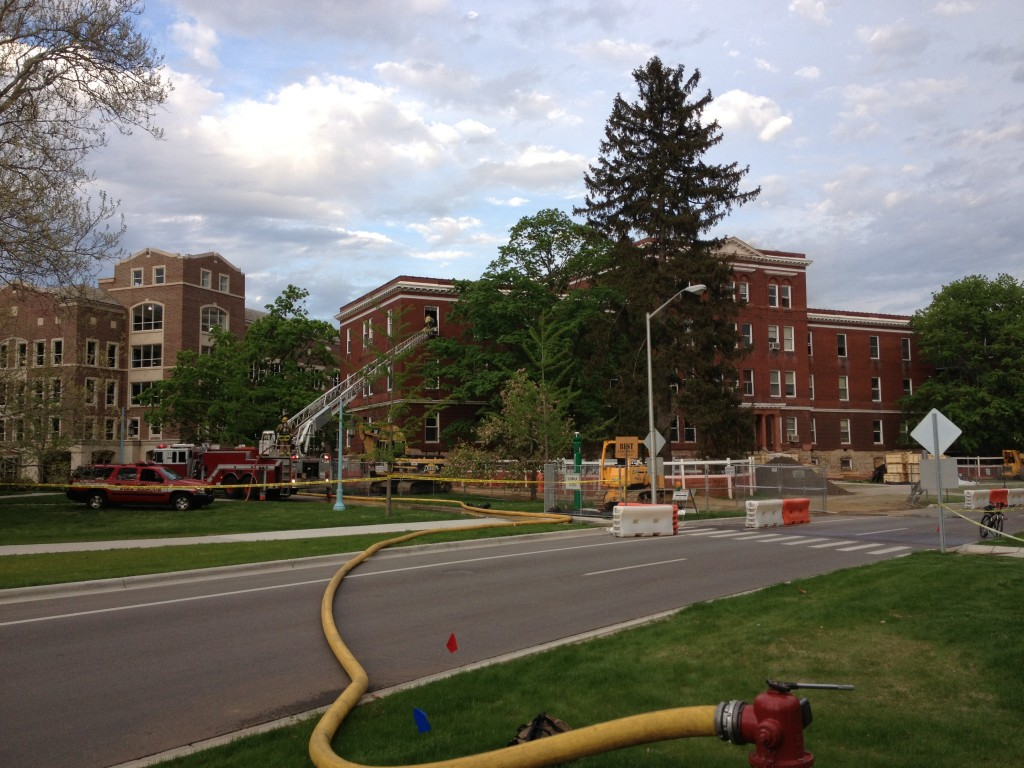 Morrill Hall on fire, Fire department attempts to stop it, photo by Bethany Slon