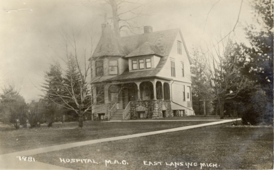 This small house would serve as the college's first hospital up until the 1920's when it was raised to make way for the new MSU Union.