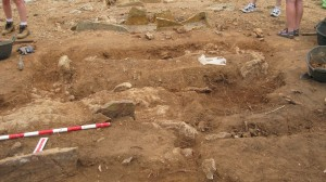 Stone laid tomb burial