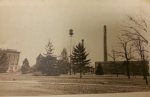 Vet lab tucked behind the trees and between Ag Hall and the iconic MSC smoke stack. Courtesy MSU Archives