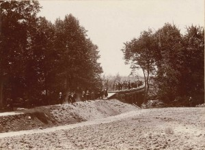 MAC students walking near MAC campus early 1900