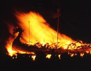 Viking Ship Funeral by Anne Burgess, via Wikimedia