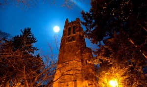 Beaumont Tower under the full moon, photo courtesy Derrick L. Turner, msutoday.msu.edu