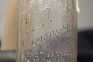 Milk Bottle labeled MSC Creamery, found at Brody.