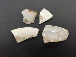 Floral print and gilded ceramic fragments from the admin/Gunson assemblage