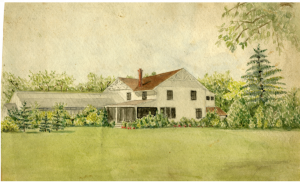Campus Greenhouse and Residence watercolor painting by Lutie Robinson Gunson, circa 1913