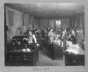 Students in chemistry lab circa 1895 - source: MSU Archives