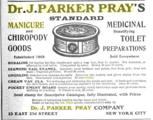 Dr. J Parker Pray Ad Circa 1905 - Source