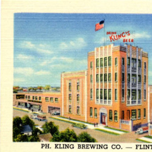 Postcard depicting the post-Prohibition Phillip Kling brewery in Flint: Image Source