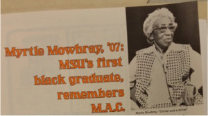 Myrtle Craig newsletter from MSU Alumni Magazine. Courtesy of MSU Archives.