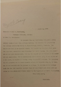 President Snyder's reference letter for Myrtle Craig to Booker T. Washington. Courtesy of MSU Archives.