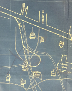 1924 Campus Map Showing Streetcar Line and Buildings. Image Courtesy of MSU Archives & Historical Collections