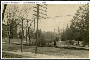 Weather Bureau on left with streetcar entrance. Image Source