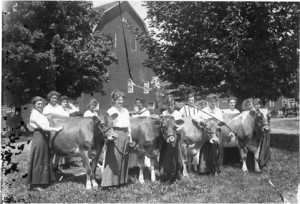 Women with cows on campus, 1908 - Image courtesy of MSU Archives & Historical Collections