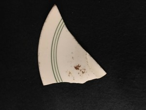Onondaga plate fragment with three green stripes - Image Source Lisa Bright