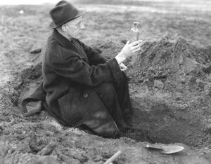 Man digging up seeds for viability experiment, likely H. T. Darlington. Image courtesy of MSU Archives & Historical Collections.
