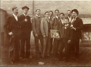 Group of students pose with frame c. 1895. Image courtesy of MSU Archives & Historical Collections