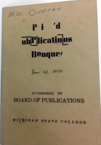 1939 Banquet Card - Image Source: MSU Archives & Historical Collections