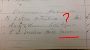 Mystery word in Saints Rest account book. Image courtesy of MSU Archives & Historical Collections.