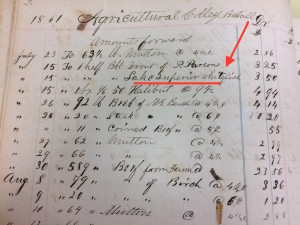 1861 Purchasing records for the boarding hall (Saint's Rest) - lake superior whitefish highlighted. Image courtesy of MSU Archives & Historical Collections