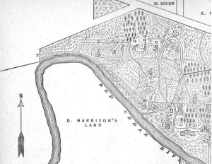 Close up map of campus, 1880. U is the botanical laboratory. The trees north of L are the arboretum. Image courtesy of MSU Archives & Historical Collections.