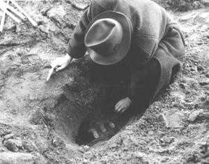 Man excavating a bottle from Beal's seed vitality experiment. Image courtesy of MSU Archives & Historical Collections