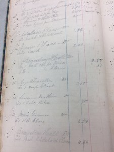Boarding Hall Receipt 1866 showing purchases of hoop skirt, belt riot and shoes. Image courtesy of MSU Archives & Historical Collections.