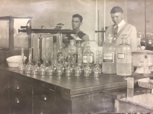 Glassware in the chemistry laboratory in 1914. Image courtesy of MSU Archives & Historical Collections