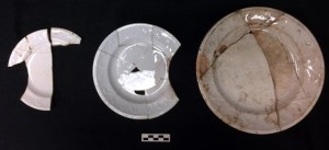 """Berlin Swirl"" Plates recovered from West Circle Privy dating to 1860s."