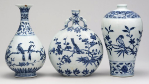 Examples of Ming Dynasty Blue-on-white porcelain. Image Source