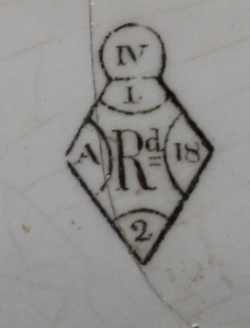 Registered Design Mark on plate from West Circle Privy.