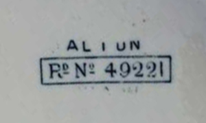 Post 1883 registered number mark. Image source.