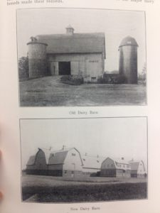 MSC dairy barns built in 1900 and 1929. E. L. Anthony, History of Dairy Development at MSC, 1929.Image courtesy of MSU Archives & Historical Collections.