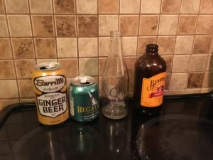 Modern ginger beer bottles from our taste test.