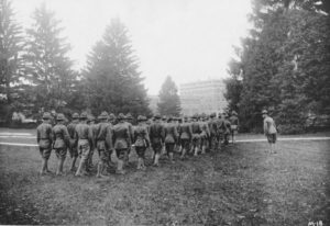 Student Army Training Corps (SATC) c. 1918. Image courtesy of MSU Archives & Historical Collections.