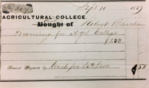 Figure 2: In 1859, Burcham was paid $1.50 for work, what type of work is illegible. Madison Kuhn Collection- UA 17.107 box 2410 folder 40. Used with Permission of MSU archives and Historical Collections.
